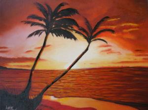 SUNSET BEACH OIL PAINTINGS